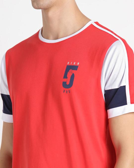 Shop Retro Red Sleeve Color Block T-Shirt