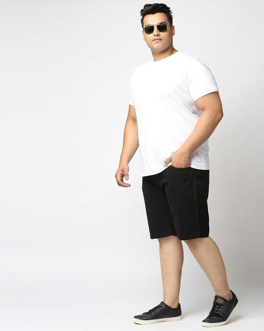 Shop Men Black Washed Regular Fit Denim Short-Full