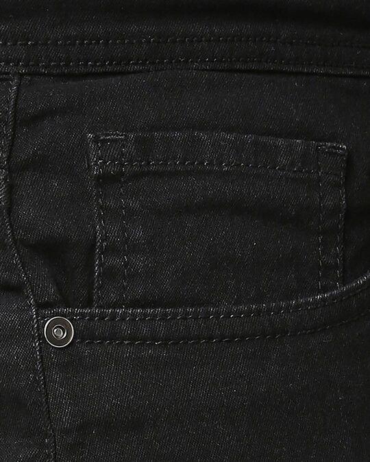 Shop Men Black Washed Regular Fit Denim Short