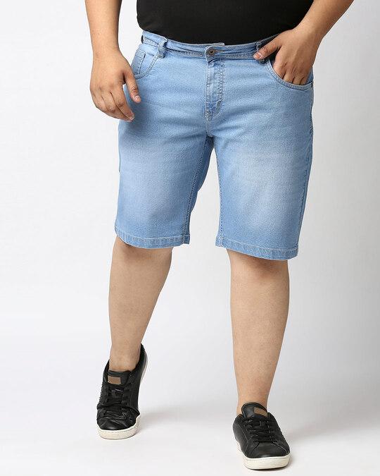 Shop Men Black Washed Regular Fit Denim Short-Front
