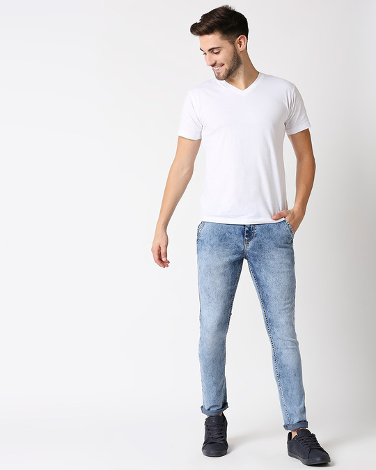Shop Men Blue Slim Fit Mid Rise Clean Look Stretchable Ankle Length Jeans-Full