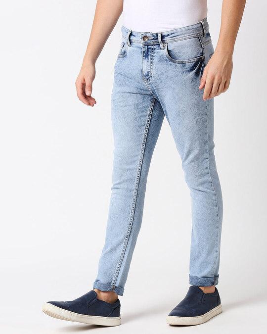 Shop Men Blue Slim Fit Mid Rise Clean Look Stretchable Jeans-Back