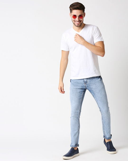 Shop Men Blue Slim Fit Mid Rise Clean Look Stretchable Jeans-Full