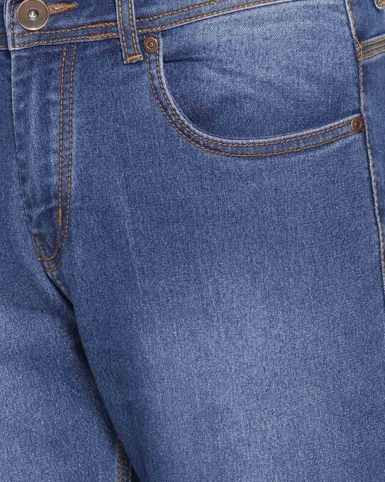 Shop Mens Blue Washed Slim Fit Mid Rise Clen Look Light Faded Jeans