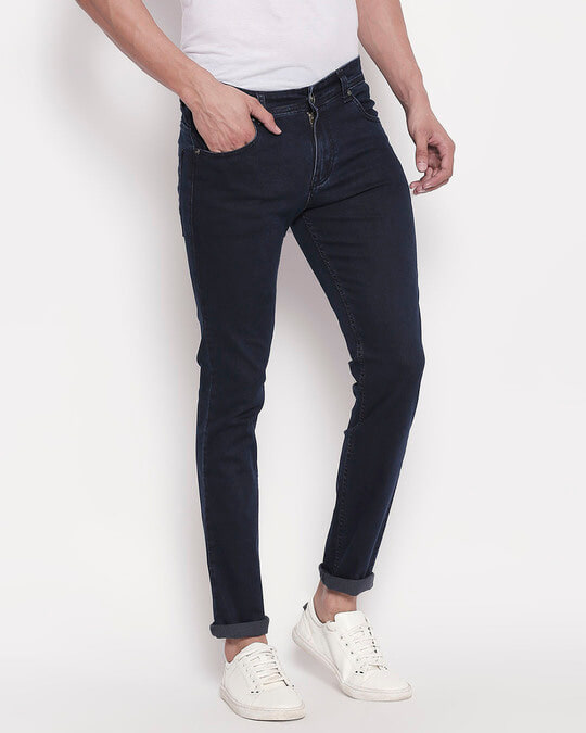 Shop Mens Blue Washed Slim Fit Mid Rise Clen Look No Faded Jeans-Design