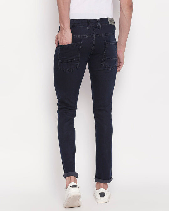 Shop Mens Blue Washed Slim Fit Mid Rise Clen Look No Faded Jeans-Full