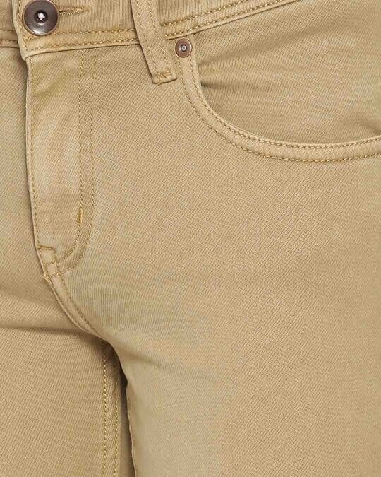 Shop Mens Khaki Color Washed Slim Fit Mid Rise Clen Look No Faded Jeans