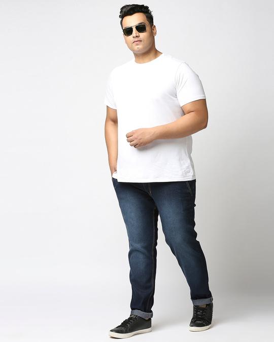 Shop Plus Size Men Blue Regular Fit Mid Rise Clean Look Jeans-Full