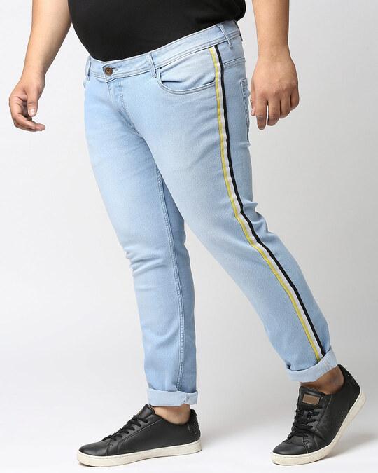 Shop Plus Size Men Blue Regular Fit Mid Rise Clean Look Jeans-Back