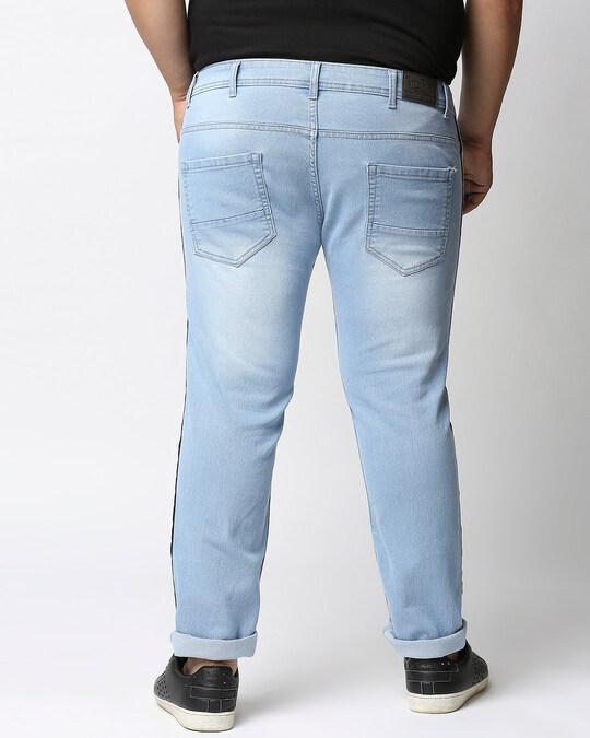 Shop Plus Size Men Blue Regular Fit Mid Rise Clean Look Jeans-Design