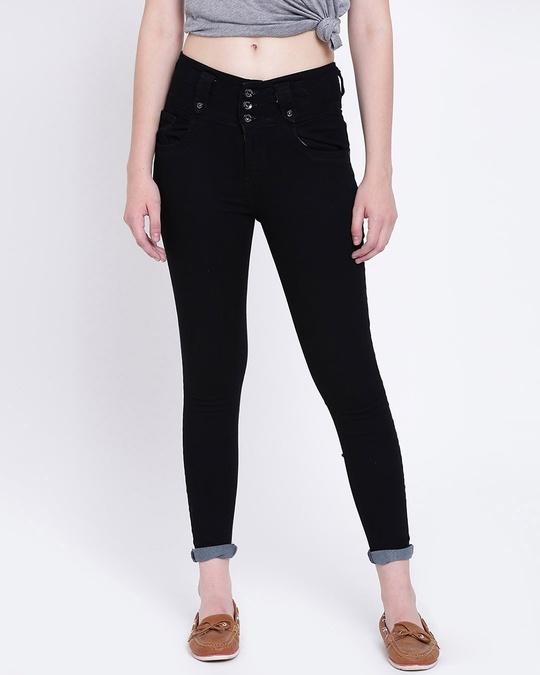Shop Women Black Slim Fit High Rise Clean Look Stretchable Jeans-Front