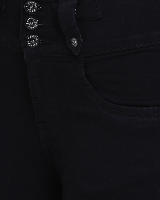 Shop Women Black Slim Fit High Rise Clean Look Stretchable Jeans-Full