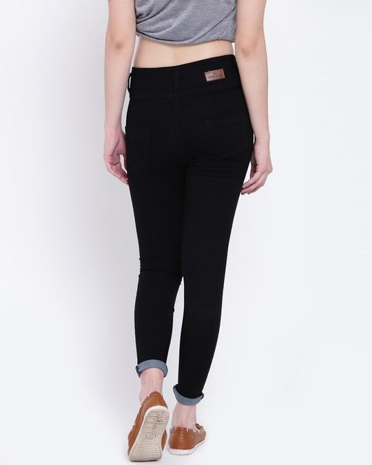 Shop Women Black Slim Fit High Rise Clean Look Stretchable Jeans-Back