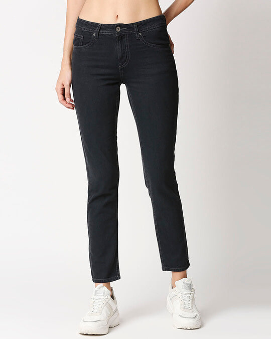 Shop Women Boyfriend Fit High Rise Clean Look Cropped Jeans-Front