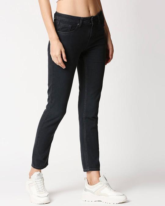 Shop Women Boyfriend Fit High Rise Clean Look Cropped Jeans-Back