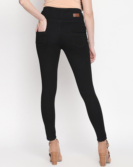 Shop Womens Black Washed Slim Fit High Waist Jeans-Full