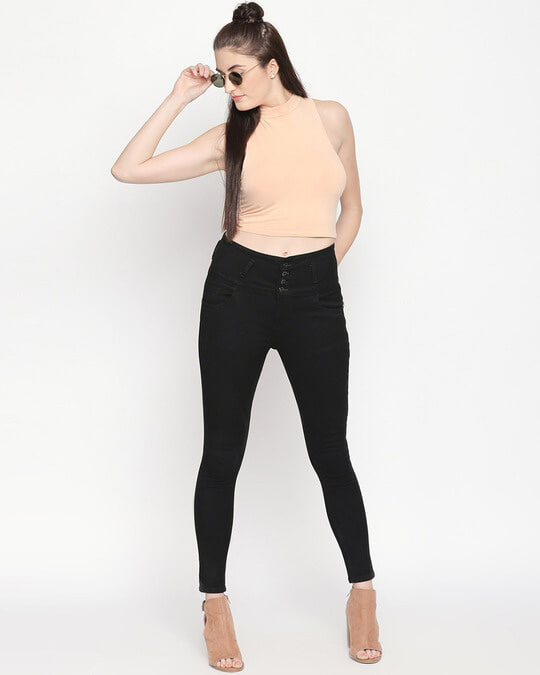 Shop Womens Black Washed Slim Fit High Waist Jeans-Front