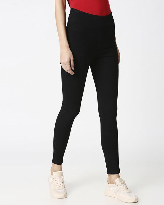 Shop Womens Black Washed Slim Fit High Waist Jeggings-Back