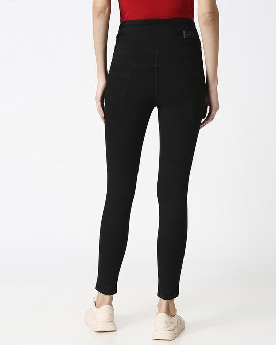 Shop Womens Black Washed Slim Fit High Waist Jeggings-Design