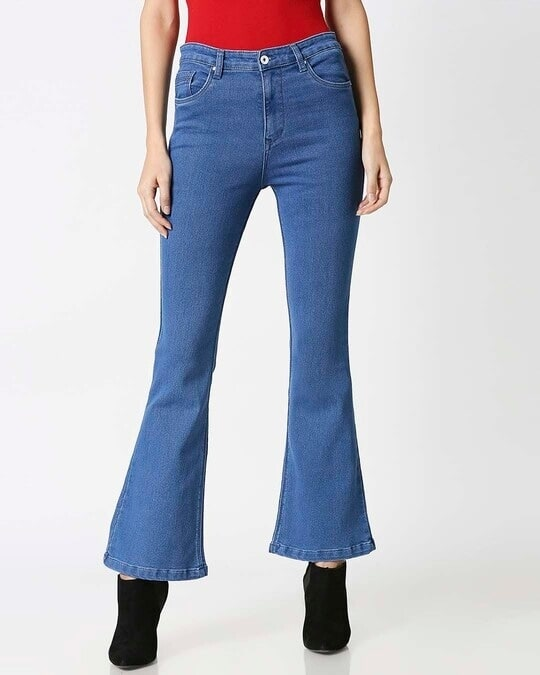 Shop Womens Blue Washed Boot Cut Fit High Waist Jeans-Front