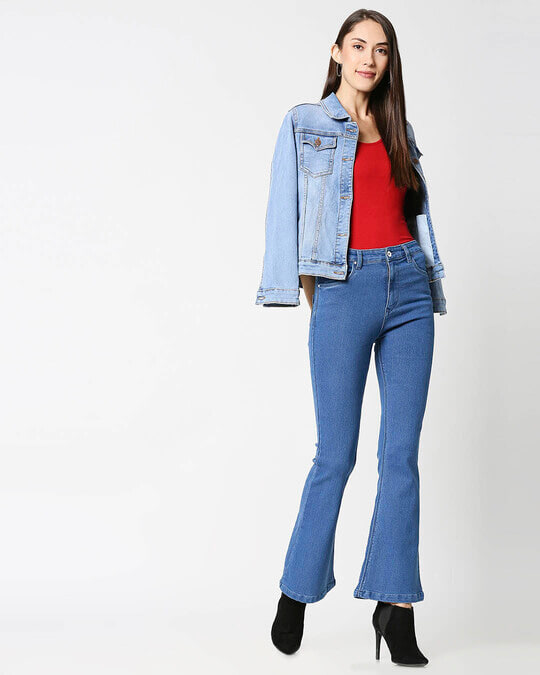 Shop Womens Blue Washed Boot Cut Fit High Waist Jeans-Full