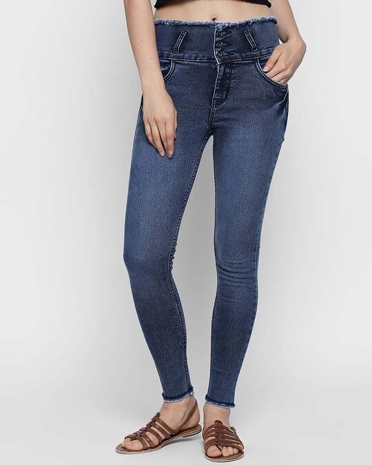 Shop Womens Blue Washed Slim Fit High Waist Jeans-Back