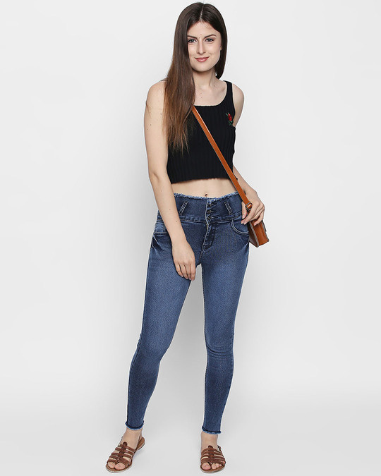 Shop Womens Blue Washed Slim Fit High Waist Jeans-Full