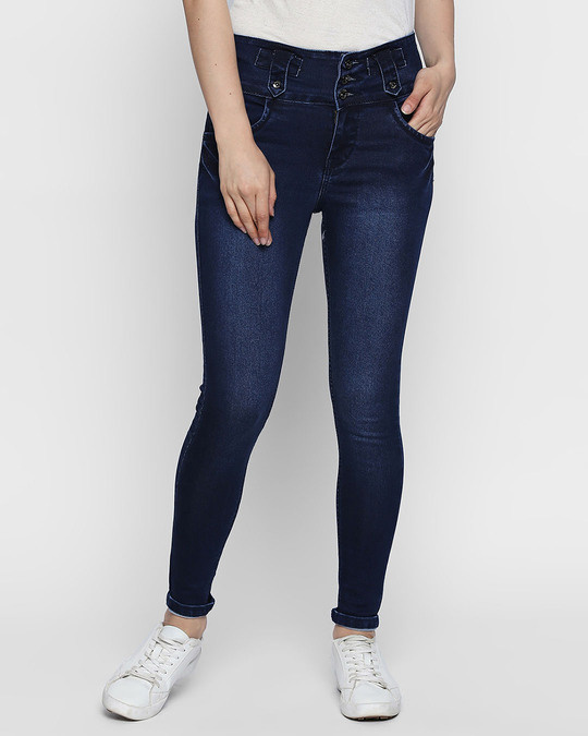 Shop Womens Blue Washed Slim Fit High Waist Jeans-Front