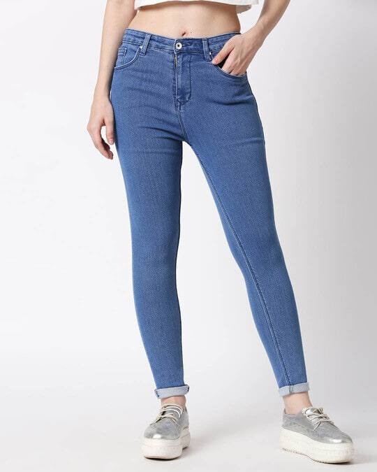 Shop Womens Blue Washed Slim Fit High Waist Jeans-Back