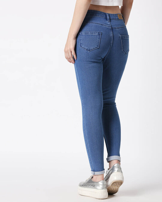 Shop Womens Blue Washed Slim Fit High Waist Jeans-Design