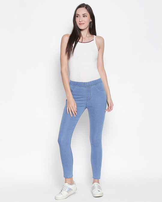 Shop Womens Blue Washed Slim Fit High Waist Jeggings-Full