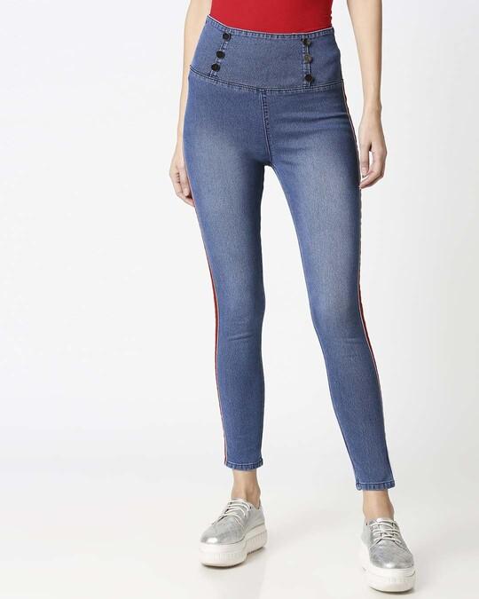 Shop Womens Blue Washed Slim Fit High Waist Jeggings-Back