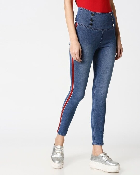 Shop Womens Blue Washed Slim Fit High Waist Jeggings-Front