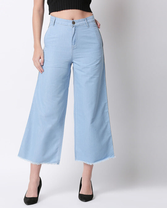 Shop Womens Blue Washed Slim Fit High Waist Palazzo-Front