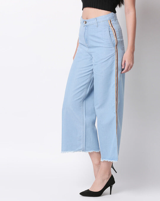 Shop Womens Blue Washed Slim Fit High Waist Palazzo-Back