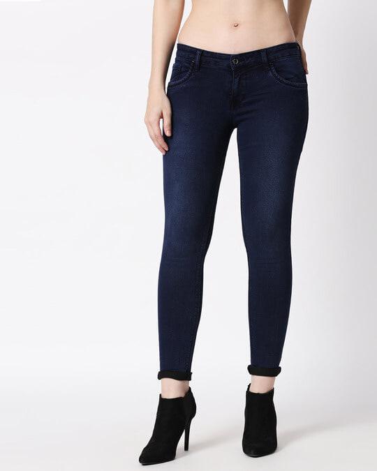 Shop Womens Blue Washed Slim Fit Mid Waist Jeans-Back