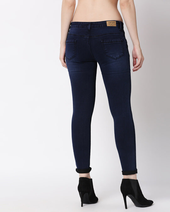 Shop Womens Blue Washed Slim Fit Mid Waist Jeans-Full