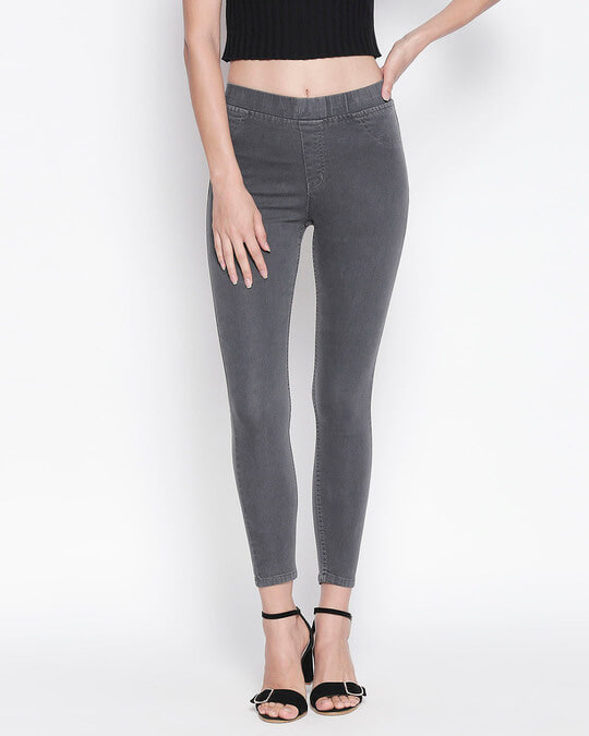Shop Womens Grey Washed Slim Fit High Waist Jeggings-Front