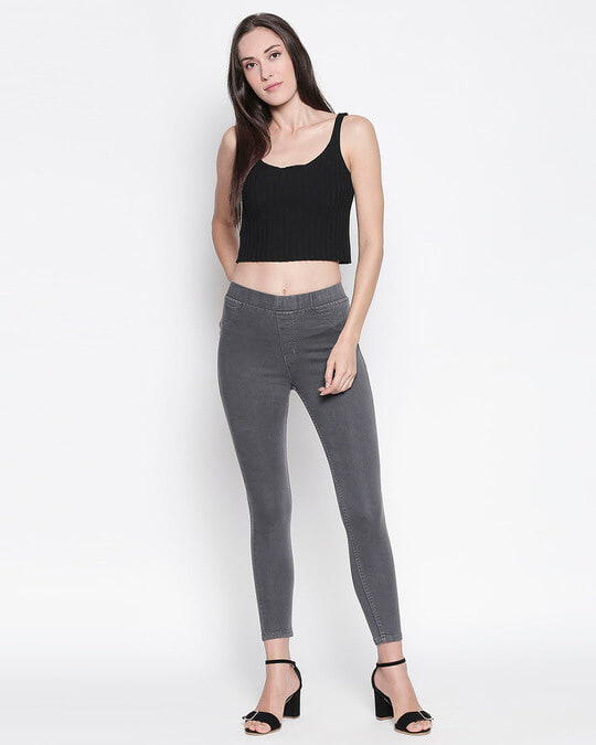 Shop Womens Grey Washed Slim Fit High Waist Jeggings-Full