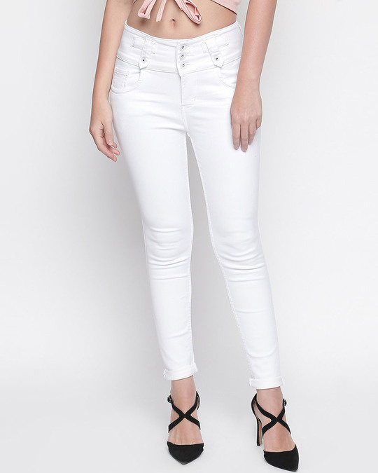 Shop Womens White Washed Slim Fit High Waist-Front