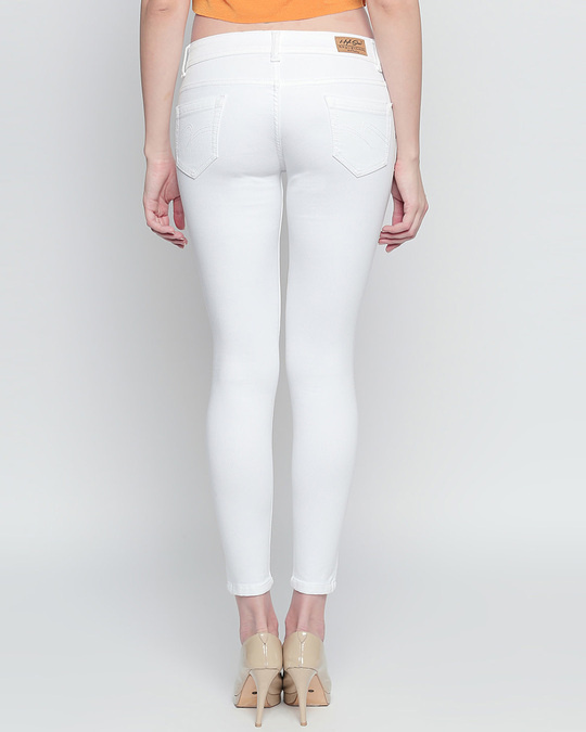 Shop Womens White Washed Slim Fit Mid Waist Jeans-Design