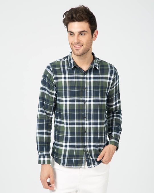 Shop Highlander Green Checked Shirt-Front