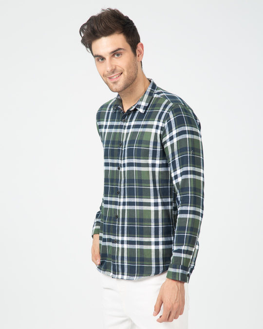 Shop Highlander Green Checked Shirt-Back