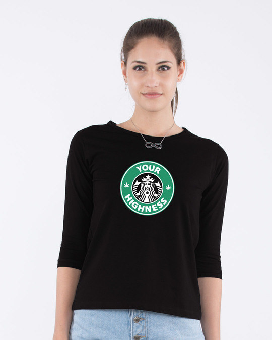 Shop Highness Round Neck 3/4th Sleeve T-Shirt-Front