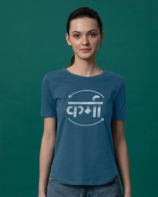 Shop Hindi Karma Basic Round Hem T-Shirt-Front