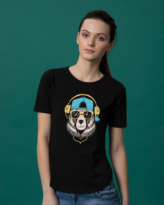 Shop Hip Hop Bear Basic Round Hem T-Shirt-Front