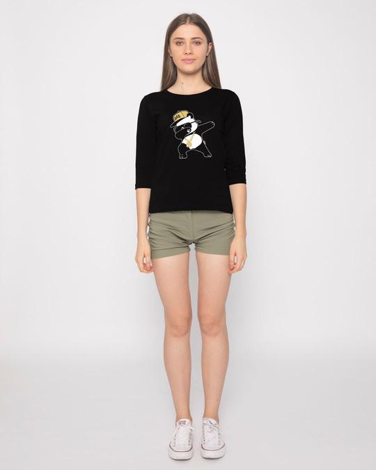 Shop Hip-hop Panda Round Neck 3/4th Sleeve T-Shirt