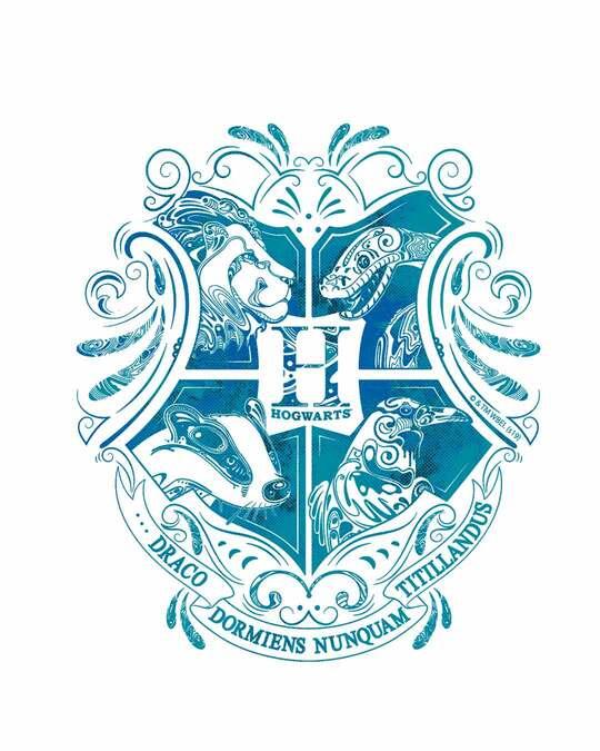 Shop Hogwarts Blue Logo Round Neck 3/4th Sleeve T-Shirt (HPL)-Full