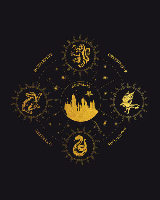Shop Hogwarts Gold Print Half Sleeve T-Shirt (HPL)-Full