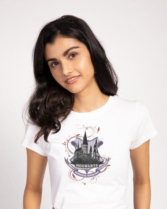 Shop Hogwarts Lilac Half Sleeve T-Shirt (HPL)-Front